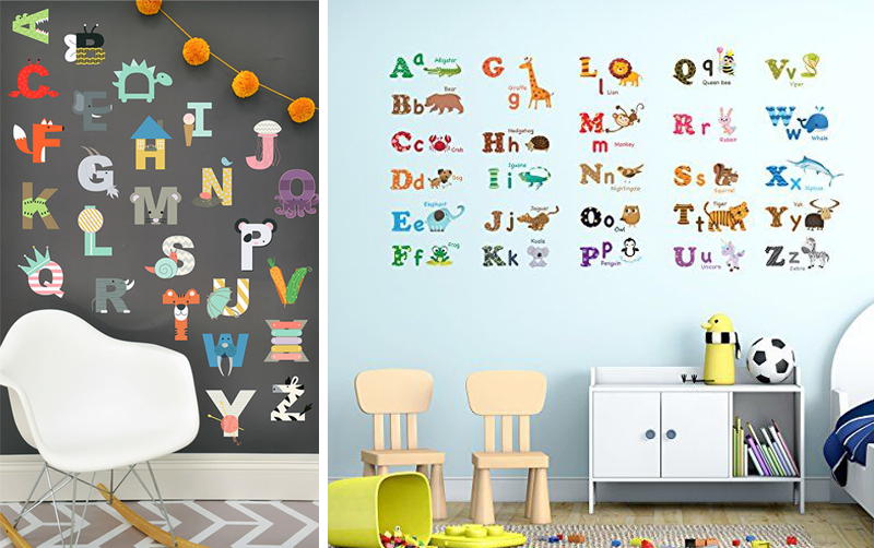 Wall decals in kids rooms by kids interiors for Wall letters kids room
