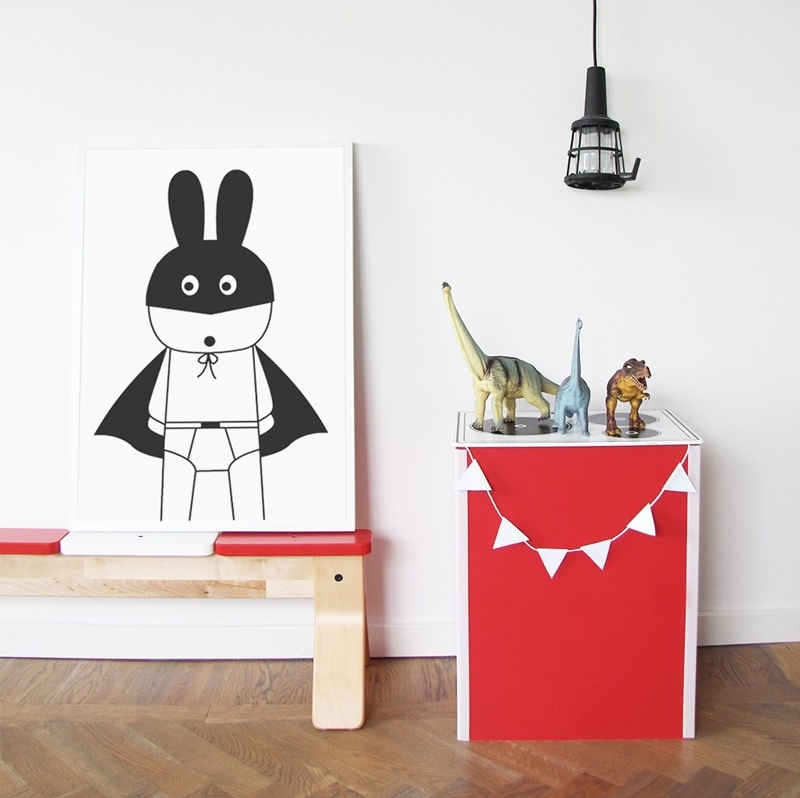 superhero theme décor and details for a kid s room