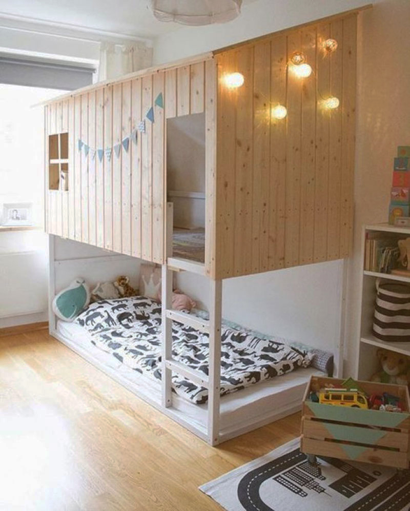 natural wood house loft bed