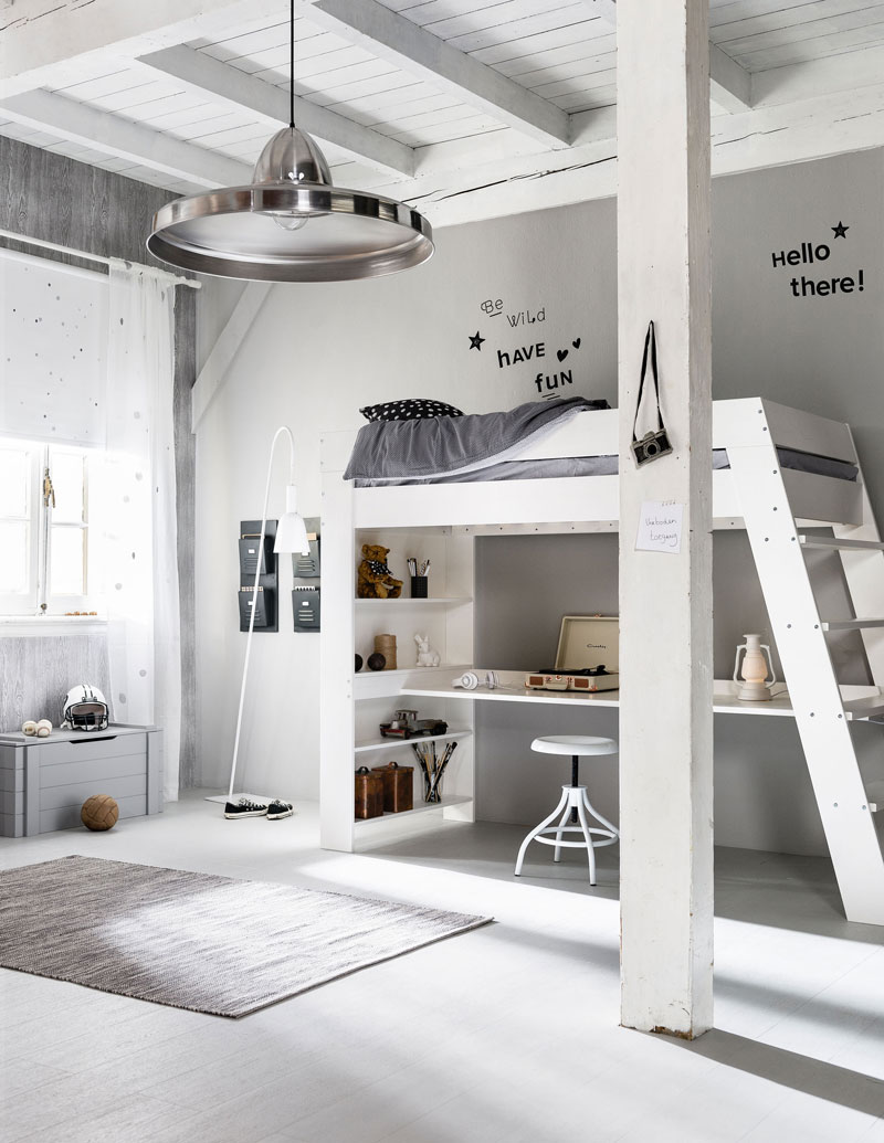 white kids room with loft bed