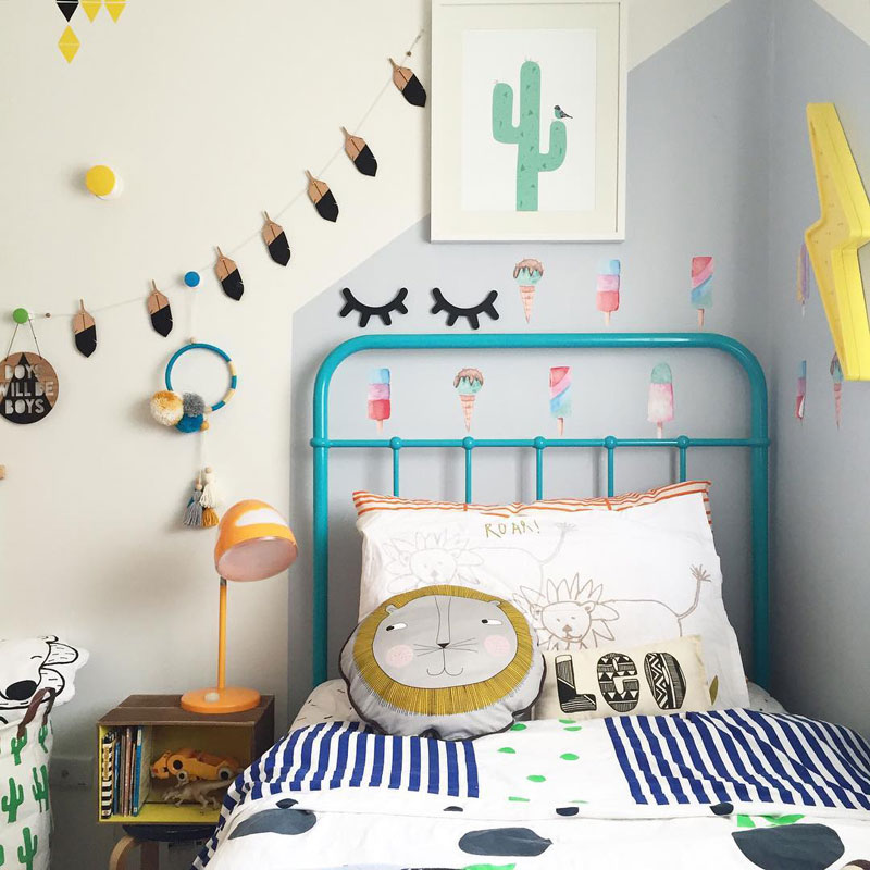 turquoise metal kids bed