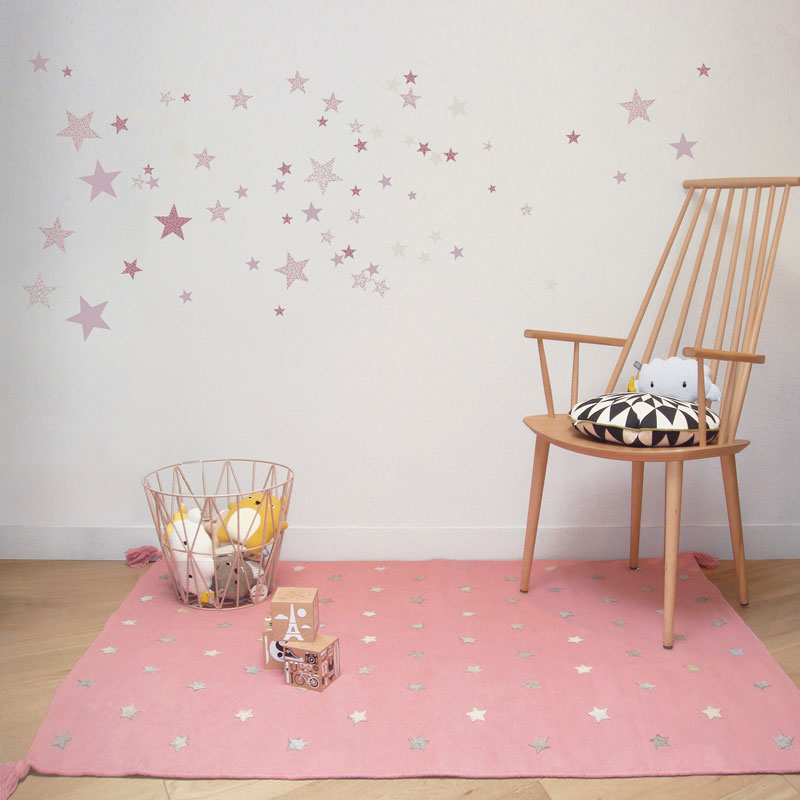 pink rug with stars