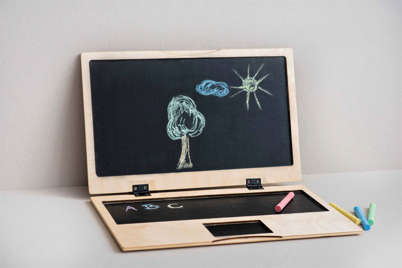 wooden laptop toy
