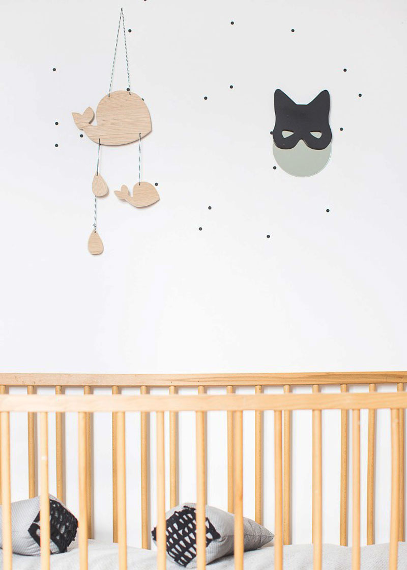 wooden whale nursery mobile garland