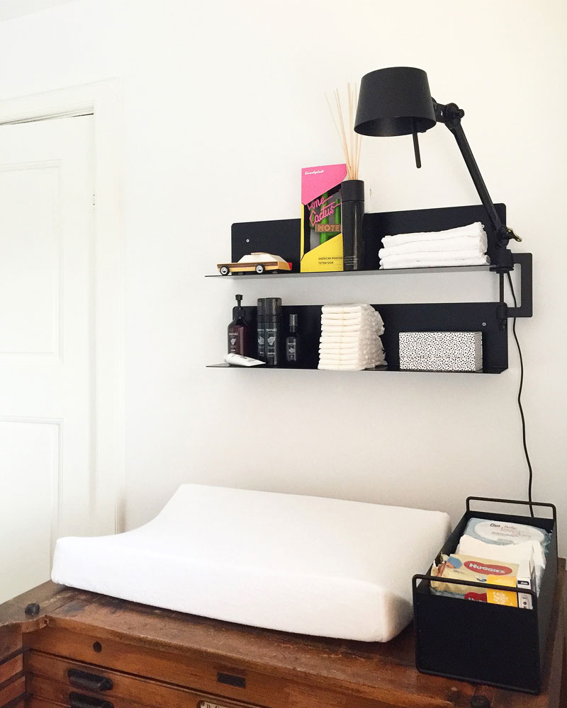 shelves above changing table