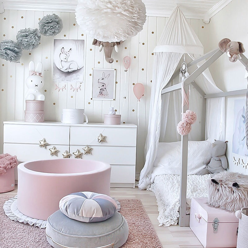 pink and grey girl's room