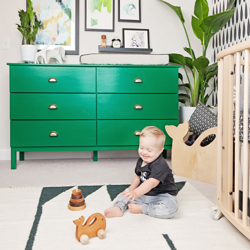 green baby changing table