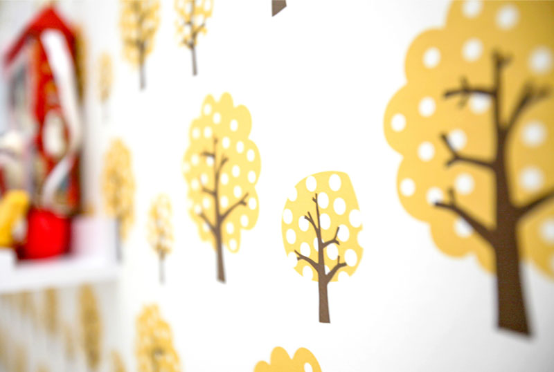 Ferm Living yellow tree retro wallpaper