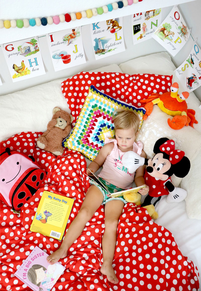 ikea red and white polka bedlinen kids