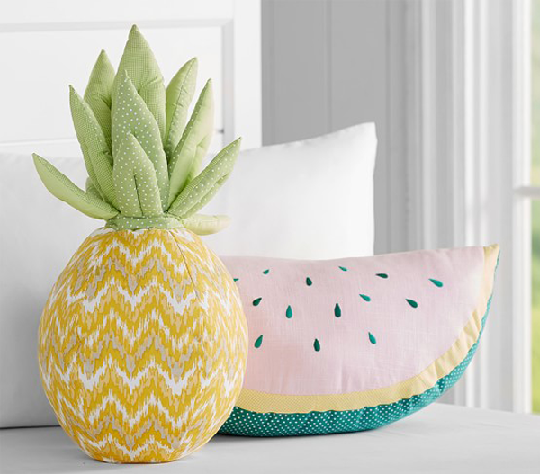 Summer fruity bedding and cushions on Kids Interiors