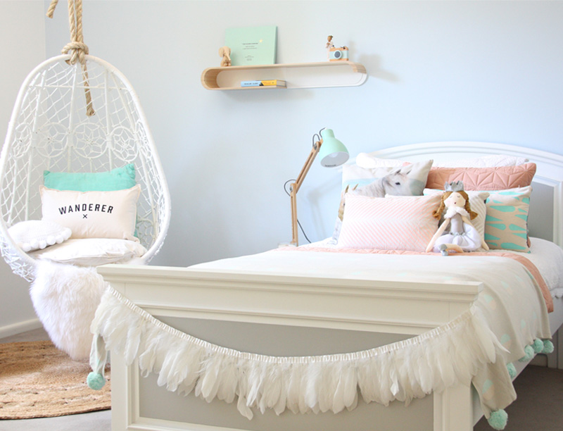 pale blue grey girlsroom