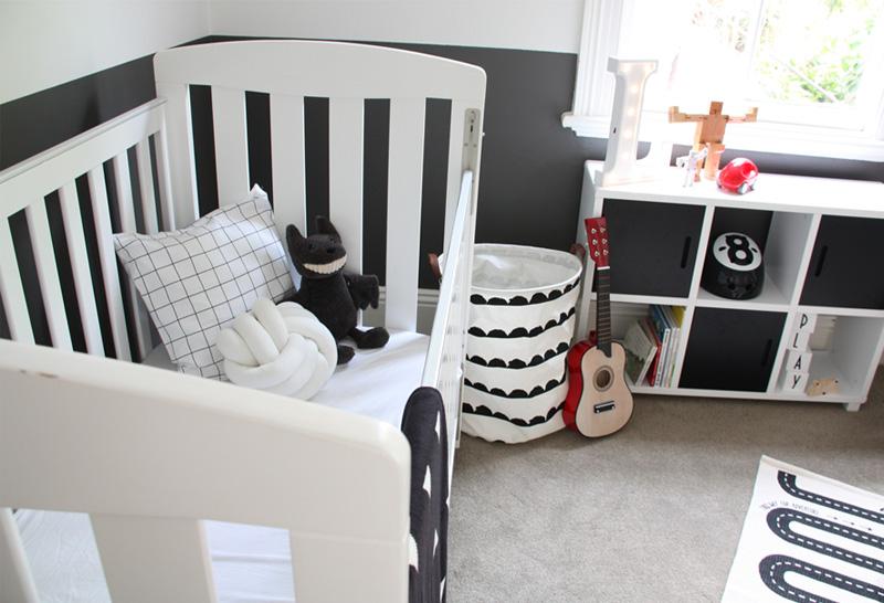 white nursery crib