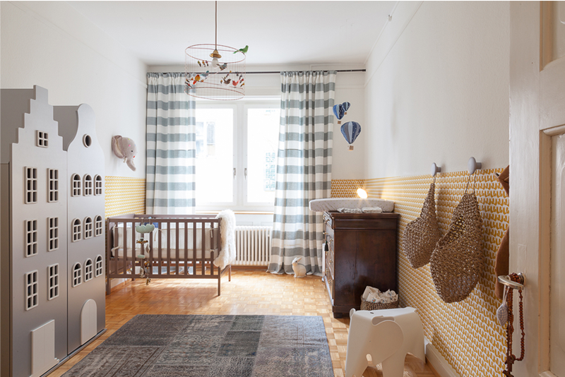 grey yellow boy nursery