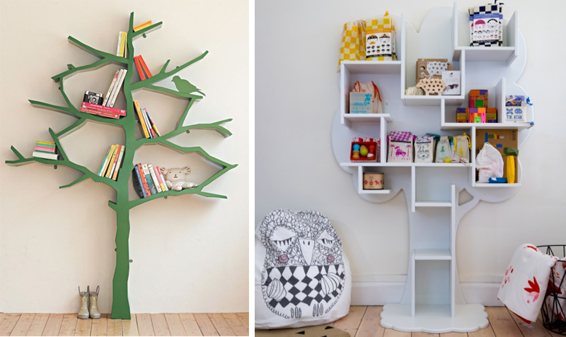 Elegant Tree Shelves Kids Rooms