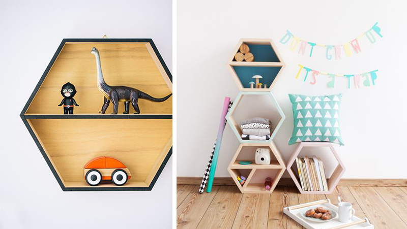 hexagon shelves childrens room