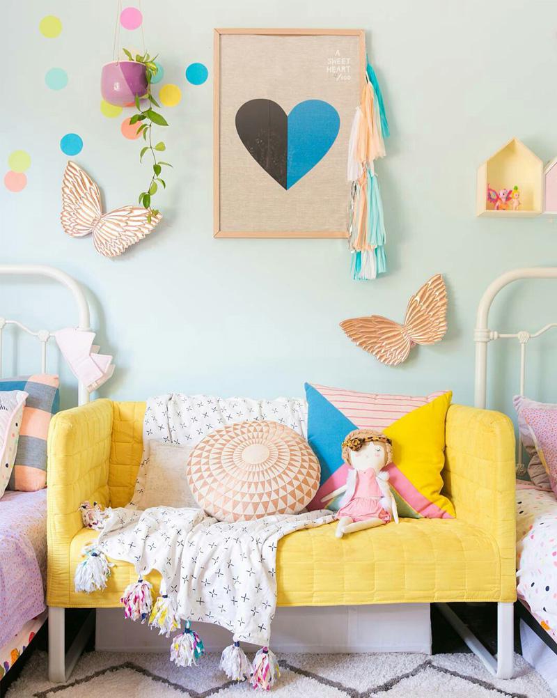 yellow sofa kids room