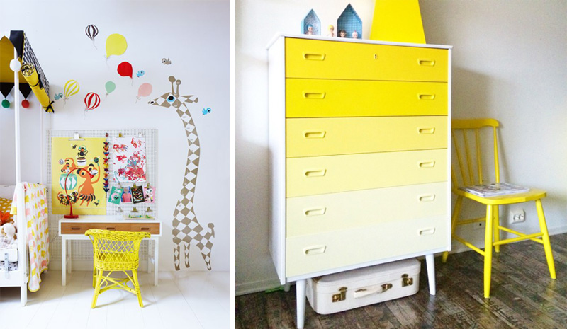 yellow furniture childrens room