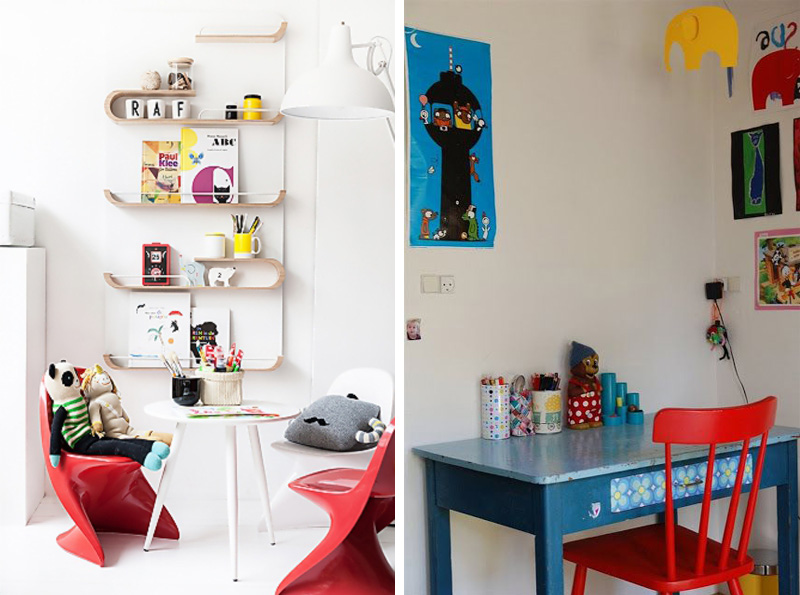 red chairs in kids rooms