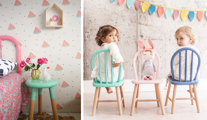 pastel chairs and stools kids