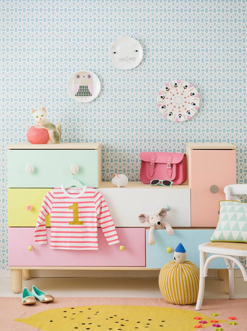 pastel painted kids furniture