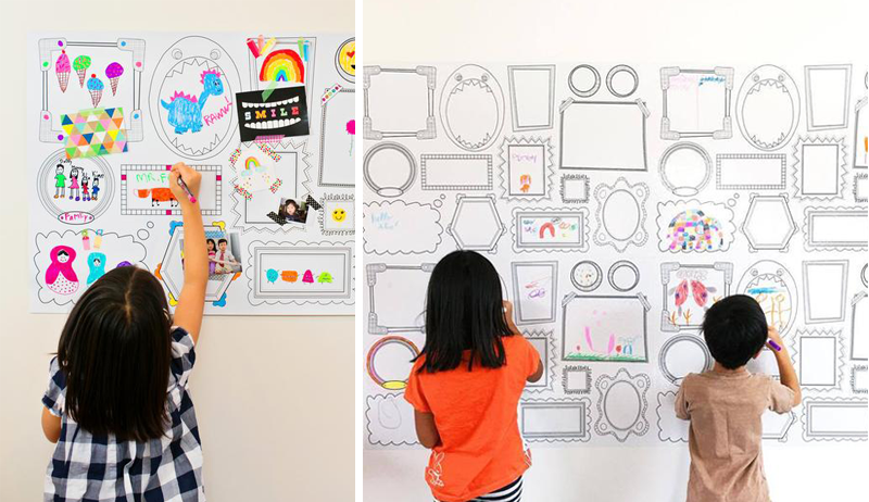 colouring-in wall decals