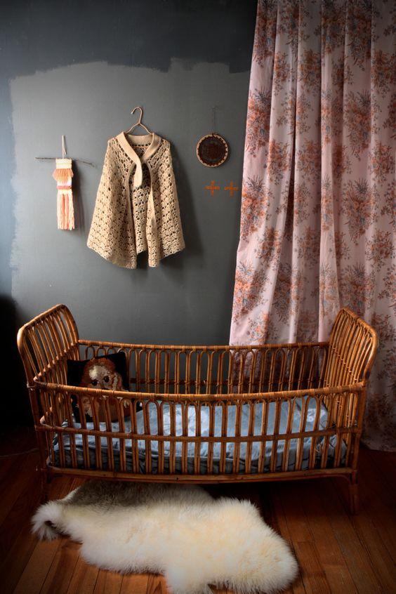 wicker nursery cot