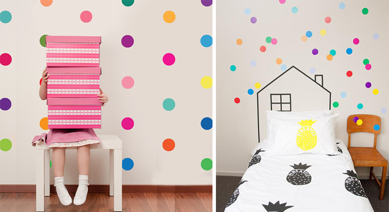 colourful polka dot stickers