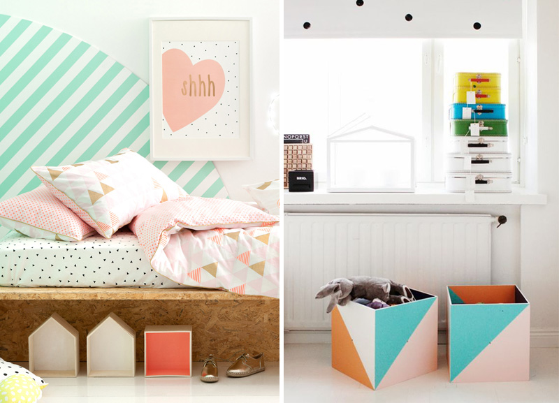 Geometric Decor In Kids Rooms Wallpaper Furniture Paint - Geometrical-shapes-on-bedding