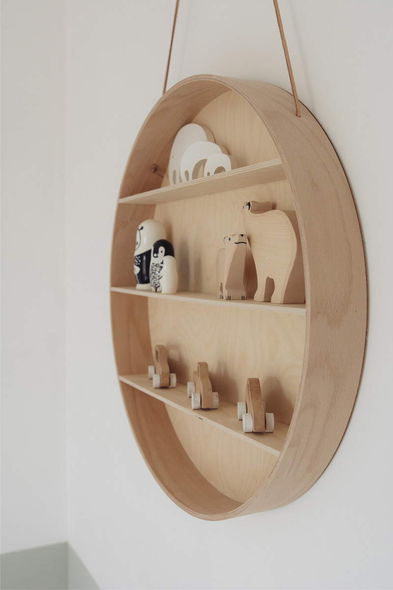 round wooden wall shelf
