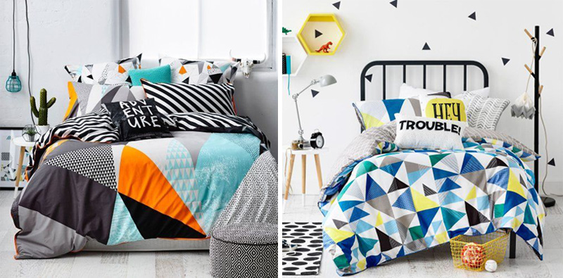 graphic colourful kids bedding