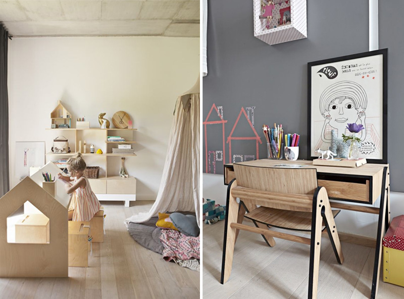 natural wood kids desk