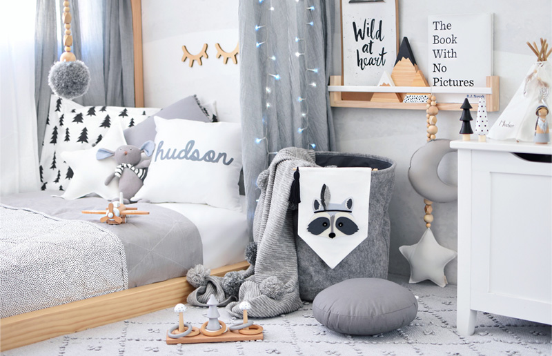 grey white boys room
