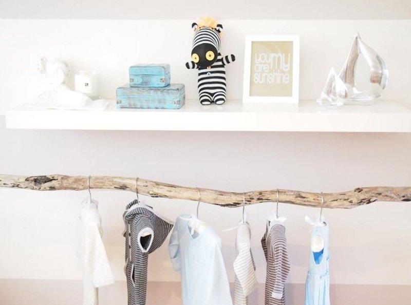 wooden branch clothesrack