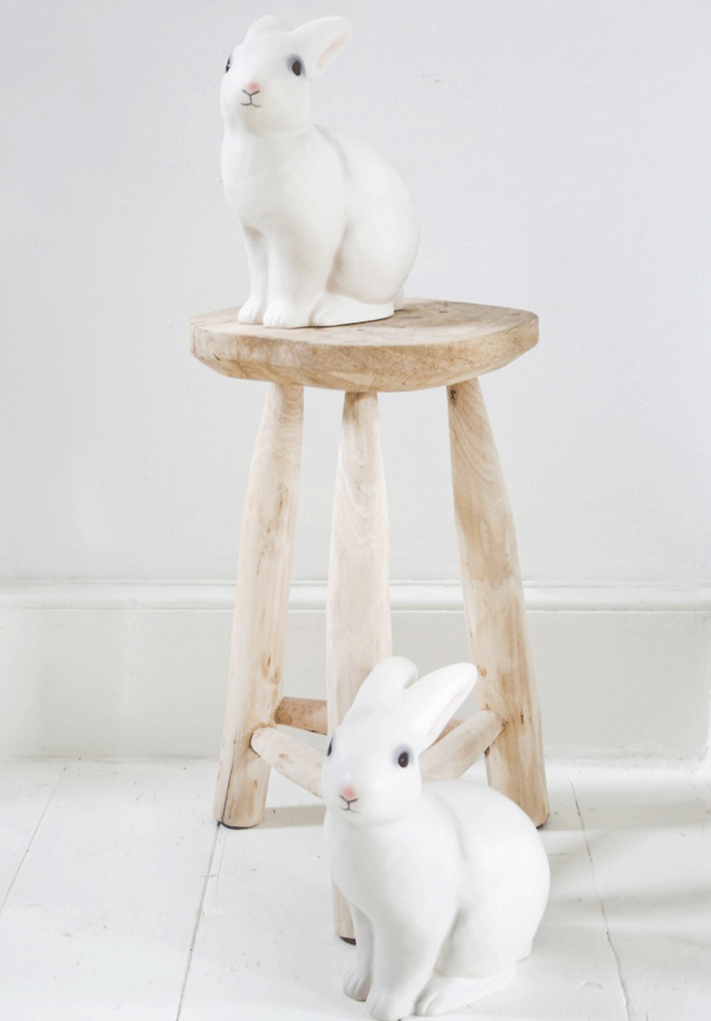 white bunny lamps