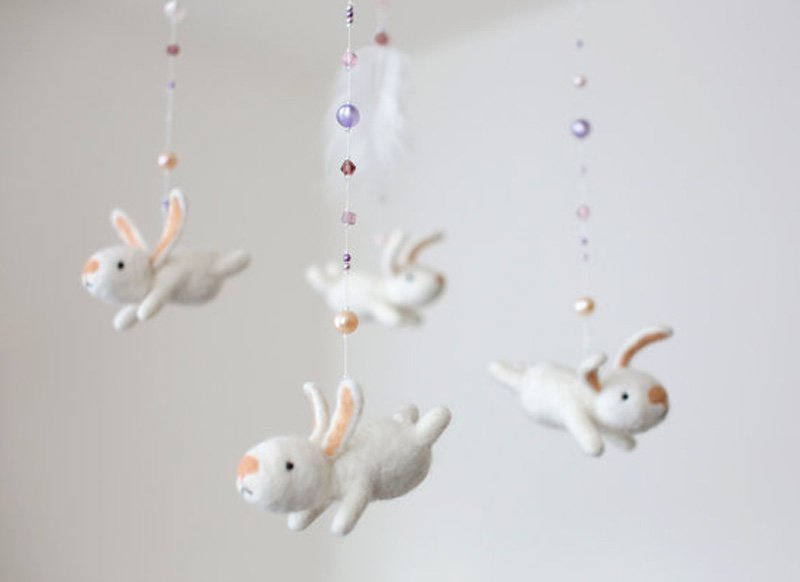 white bunny nursery mobile