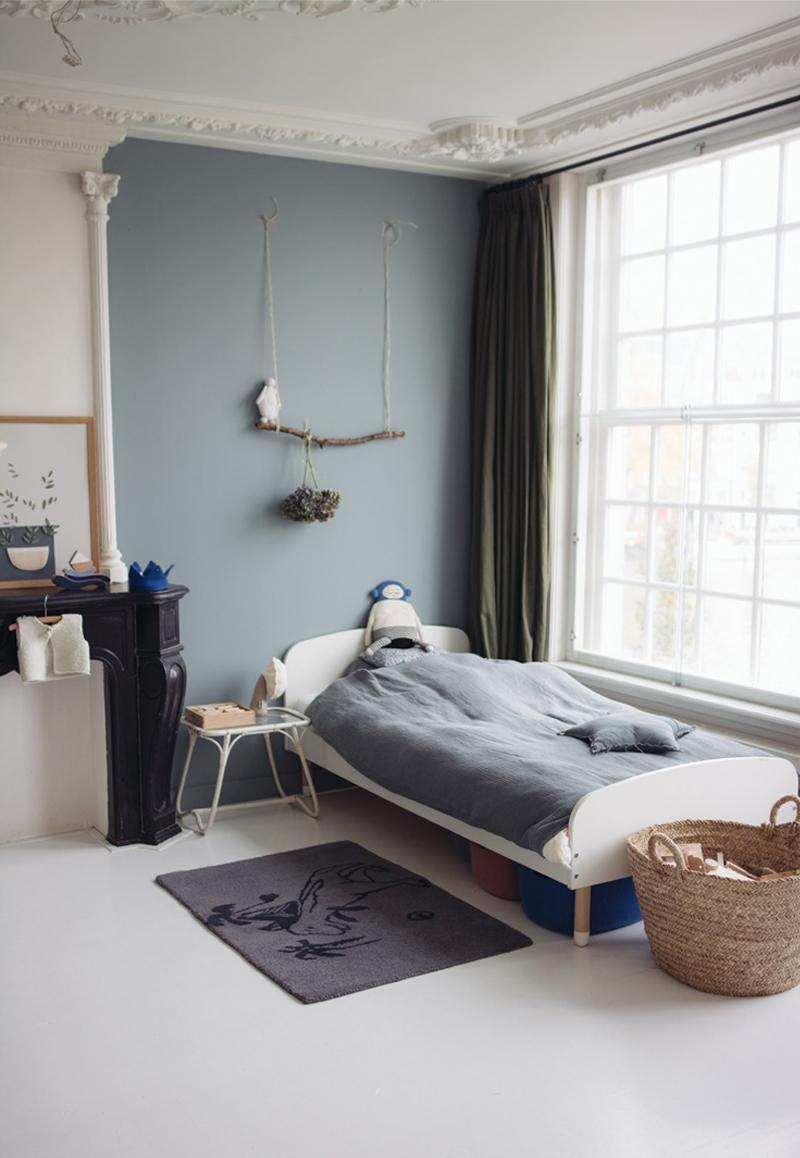 grey blue wall kids room