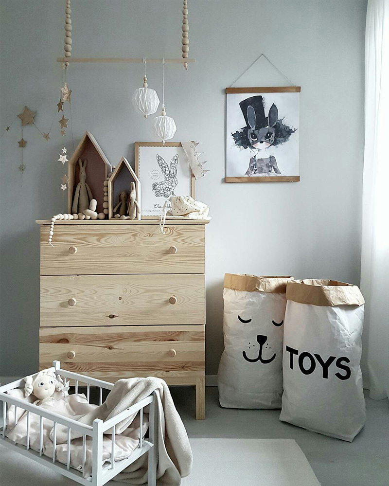 natural wooden kids dresser