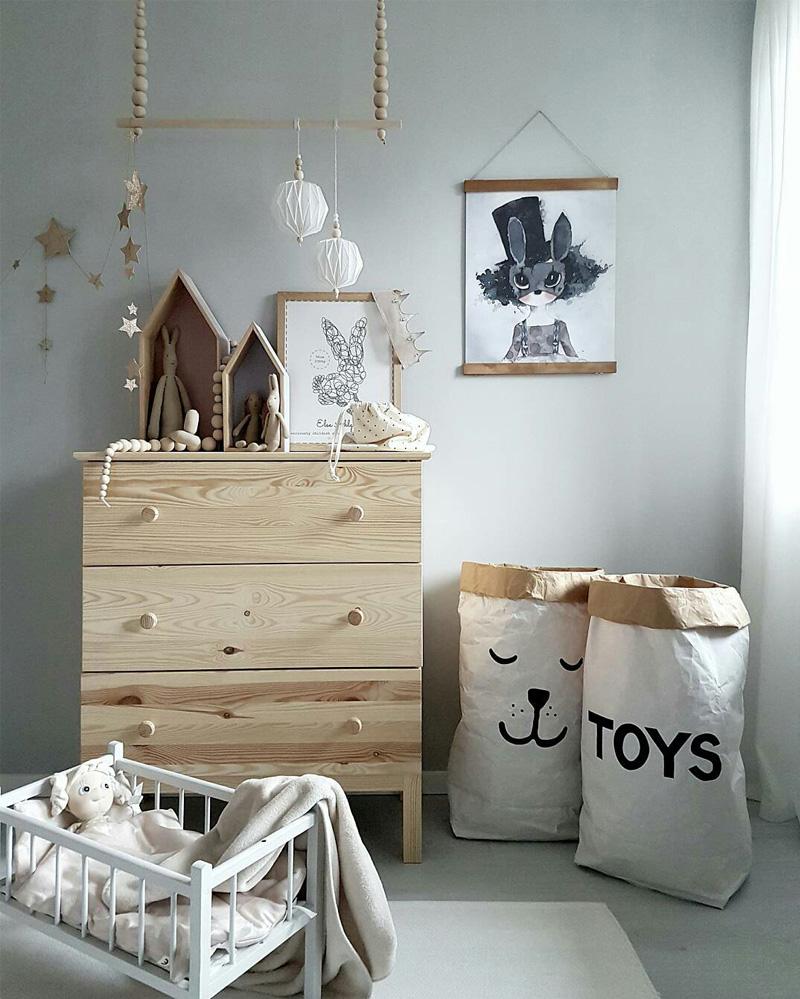 natural wooden kids dresser
