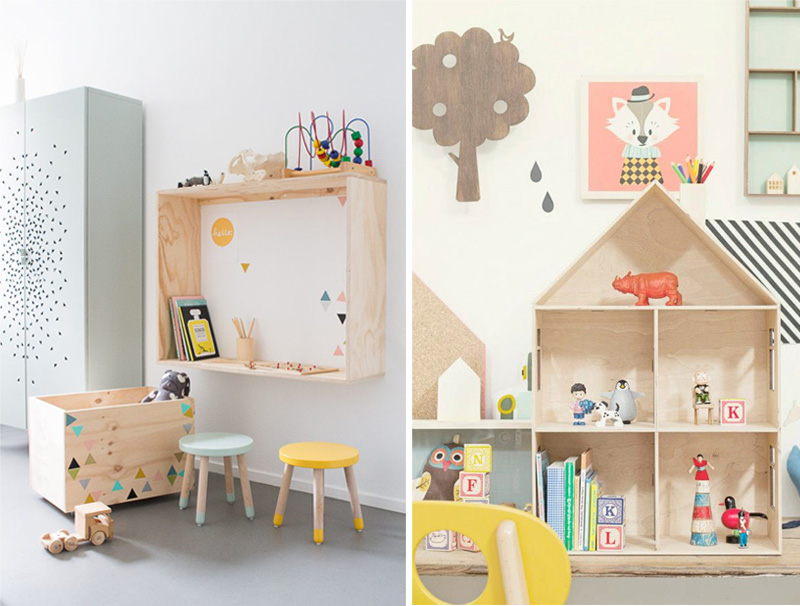 natural wooden shelves kids room