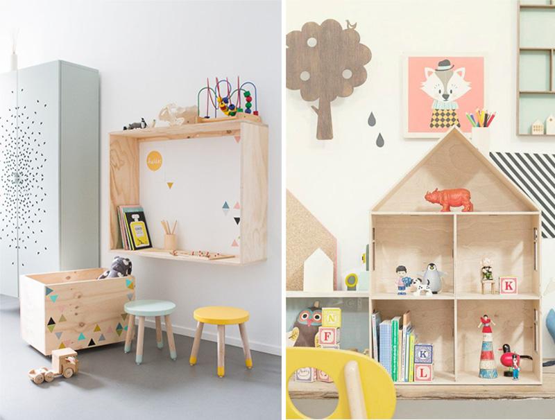 natural wooden shelves kids room