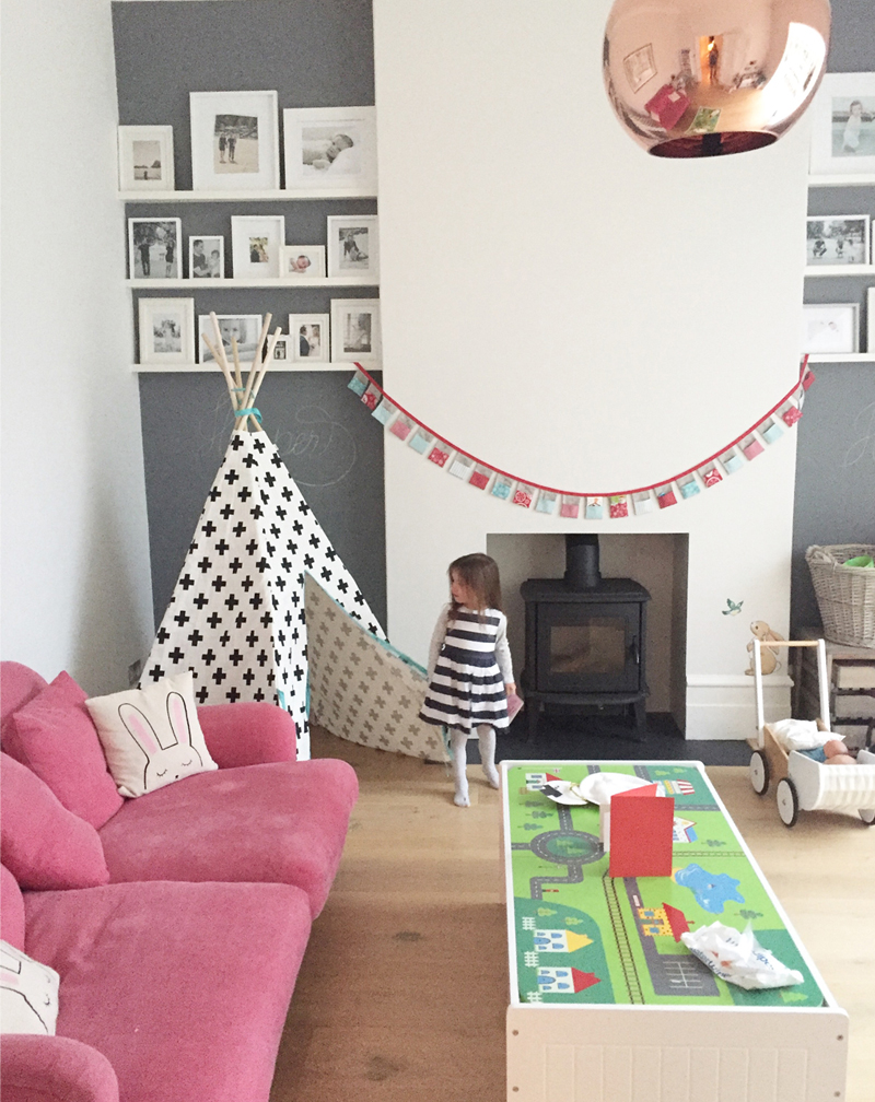 kids playroom with pink