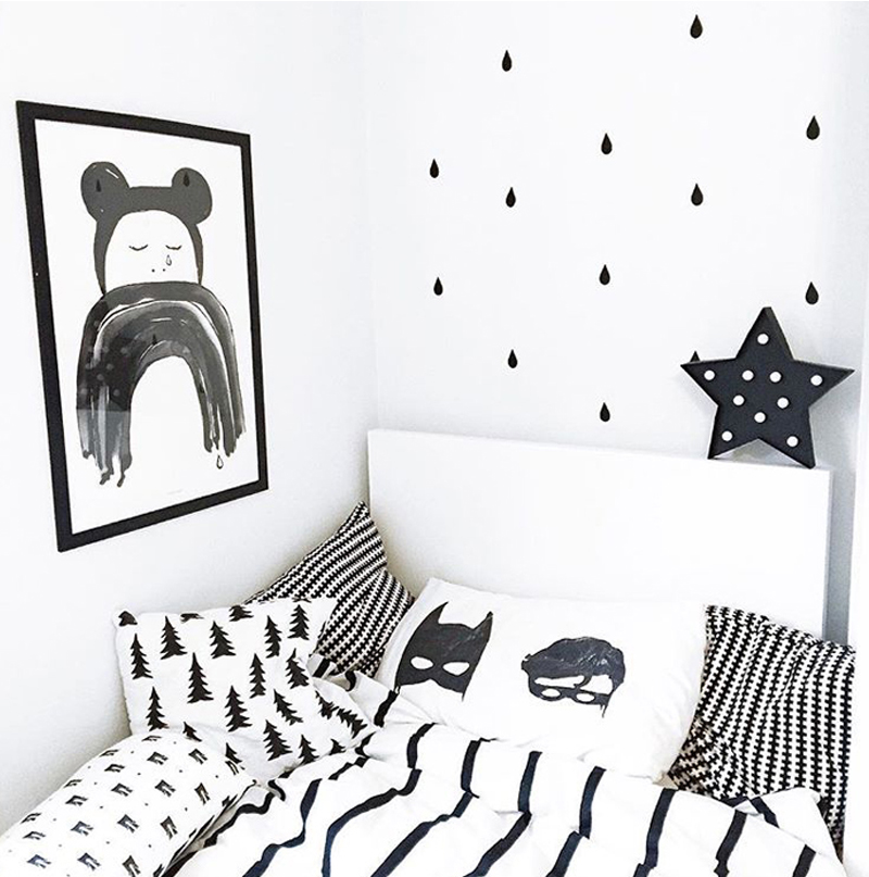 superhero black white kids room