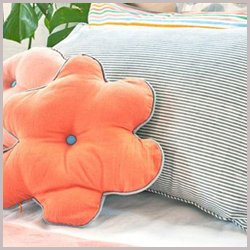 coral peach flower pillow