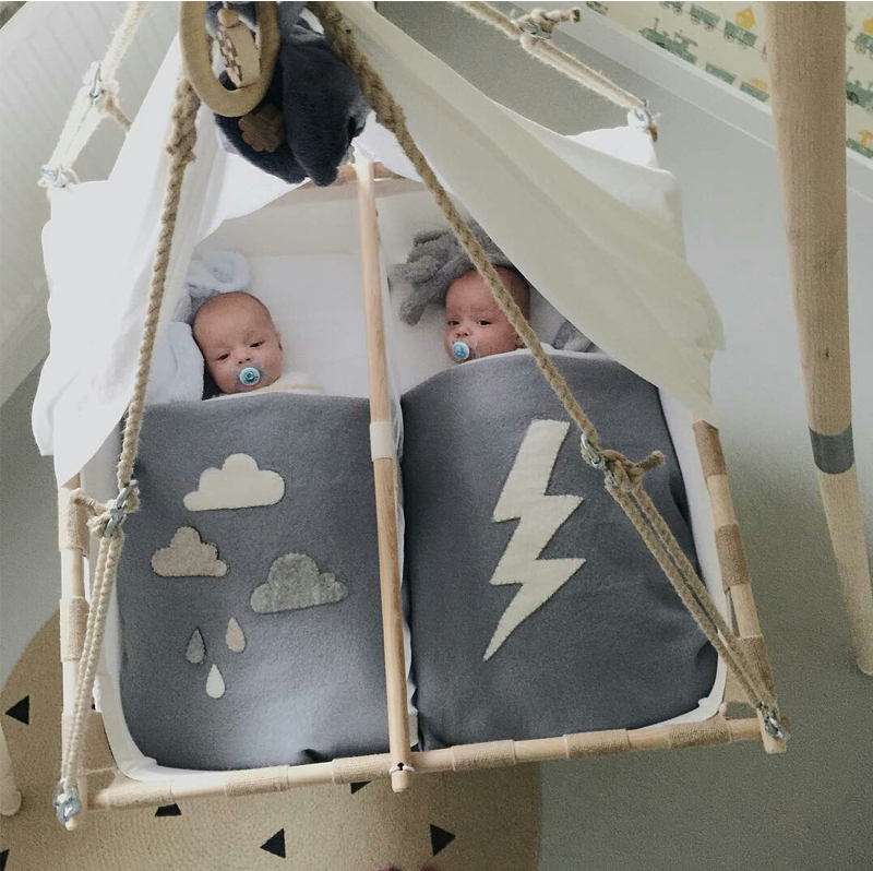 double hanging cot for twins