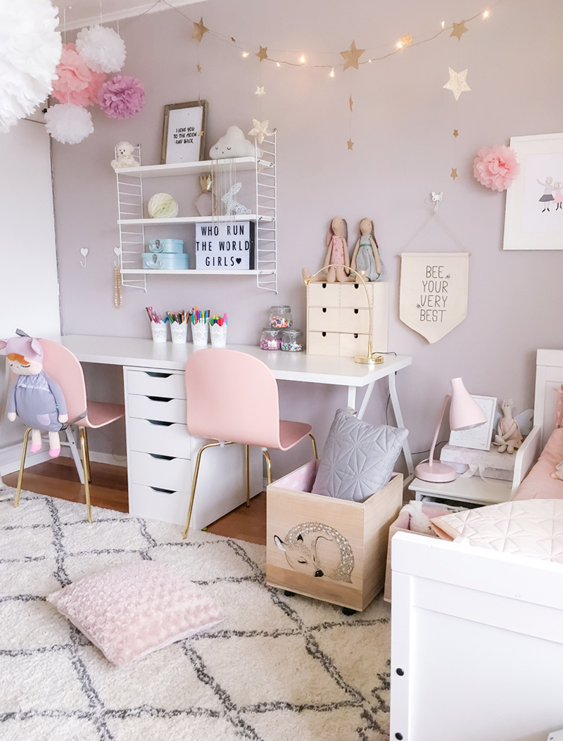 A scandinavian style shared girls39 room by kids interiors for Girl room decoration