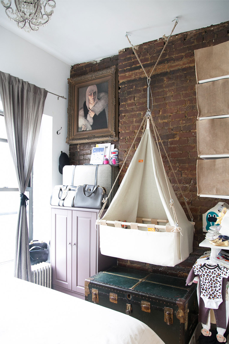 hanging textile bassinet cot