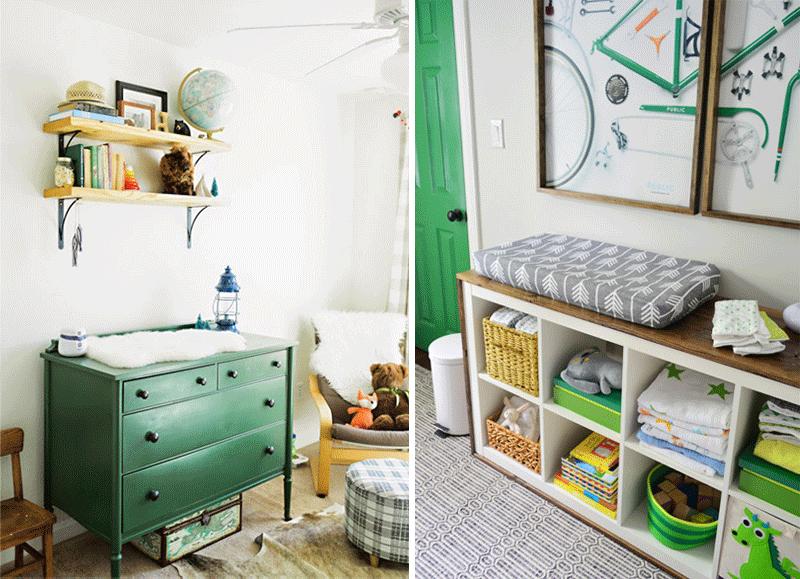 green nursery dresser