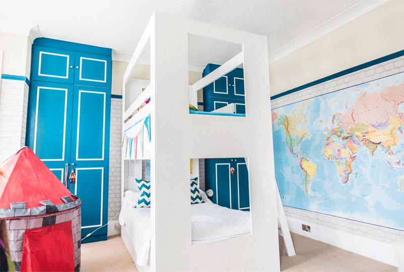 blue white boys room