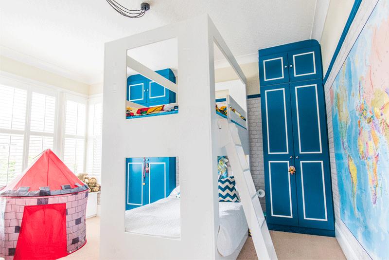 blue cupboards kids room