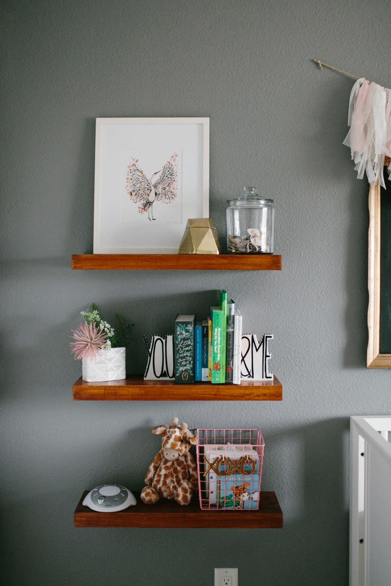 oak shelves nursery